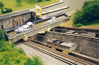 Canal inclined plane - Inclined plane on Marne-Rhine Canal with a caisson
