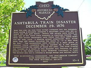 "Ashtabula River railroad disaster - The Ohio historical marker ""Ashtabula Train Disaster"""