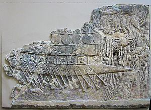 Phoenician warship, a bireme with pointed bow. 700 BC