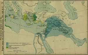 "Qedarite - A map of the Assyrian Empire and the Region about the Eastern Mediterranean, 750 - 625 BCE from William R. Shepherd's ""Historical Atlas"" (1911) - Early Qedarite rulers are listed in 8th and 7th century BCE Akkadian cuneiform inscriptions as vassals of the Assyrian empire"