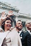 Astronaut Alan B. Shepard Jr. (center), along with wife Louise, waves to a crowd outside the U.S. Capitol building.jpg