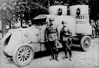 """Polish–Soviet War - Austin-Putilovets """"Poznańczyk"""" near Bobruysk, Polish–Soviet War 1920"""