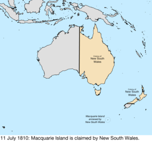 Territorial evolution of Australia - Map of the change to the founding colonies of Australia on 11 July 1810