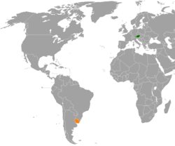 Map indicating locations of Austria and Uruguay
