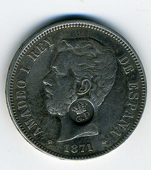 Amadeo I of Spain - Amadeo as King of Spain on a coin from 1871.