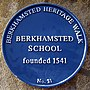 Blue plaque on Berkhamsted School Old Hall