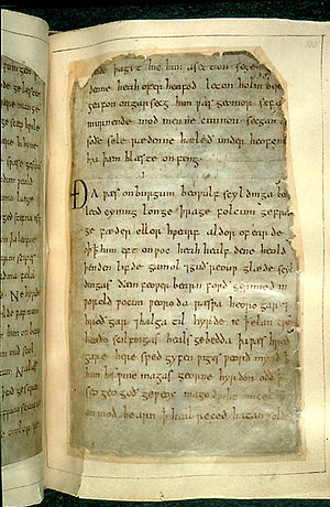 Beowulf - Remounted page, British Library Cotton Vitellius A.XV