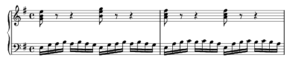 Prelude in E minor, BWV 855a - J.S. Bach, Prelude in E minor BWV 855a, measures 1–2
