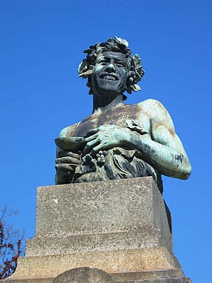 António Teixeira Lopes - Bust of Bacchus (1916) by Teixeira Lopes in República Square in Porto.