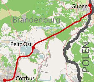 Cottbus–Guben railway - Image: Bahnstrecke Cottbus–Guben (Karte)