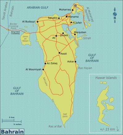 Kaart van Bahrein
