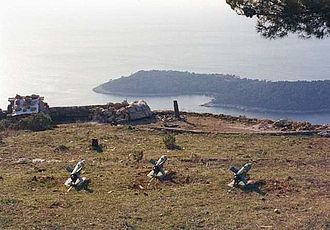 Siege of Dubrovnik - JNA positions overlooking Dubrovnik, 9 December 1991. Three 9K11 Malyutka anti-tank guided missiles in a firing position are visible.