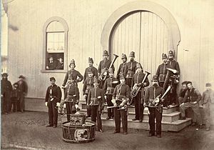 Uniform of the Union Army - 10th Veteran Reserve Corps bandsmen in sky blue jackets April 1865.