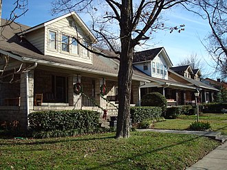 Bungalow - Rows of bungalows in the Belmont-Hillsboro neighborhood of Nashville, Tennessee, United States