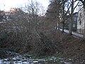 Bank of river Lahn, old building 'Hirsemühle' behind youth hostel Marburg-Weidenhausen and trail 'Trojedamm' in winter from bridge Hirsefeldsteg 2017-01-19.jpg