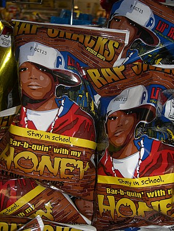Potato chip packages featuring hip hop-design images (showing Lil Romeo and based on the film Honey) Bar-b-quin' with my HONEY.jpg