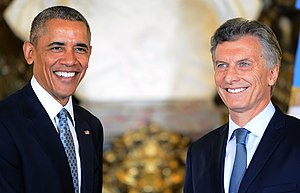 Argentina–United States relations - Mauricio Macri with then U.S. President Barack Obama in Buenos Aires, March 2016.