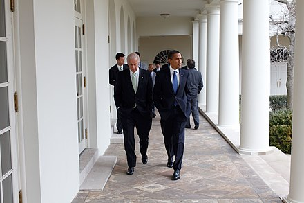 President Obama walking with Vice President Biden at the White House, February 2009 Barack Obama Walking With Joe Biden.jpg