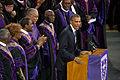 Barack Obama delivers the eulogy at the funeral of Reverend Clementa Pinckney 2015-06-26.jpg