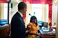 Barack Obama talks with Angela Tennison on Hallowe'en 2013.jpg