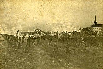 Battle of Kirksville - Artist rendering of the Battle of Kirksville.
