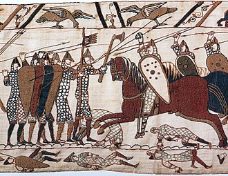 Battle of Hastings - Scene from the Bayeux Tapestry depicting mounted Norman soldiers attacking Anglo-Saxons who are fighting on foot in a shield wall