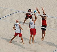 Beach volley at the Beijing Olympics - Semi-final USA v. Georgia.jpg