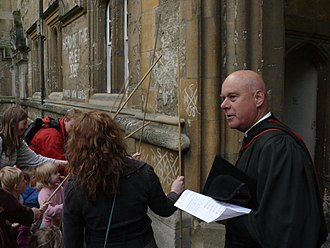 Beating the bounds - Beating the bounds of the parish of the University Church of St Mary the Virgin in Oxford.