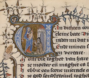 Beatrijs - Illuminated initial at the beginning of the Beatrijs legend. The Hague, Royal Library, 76 E 5