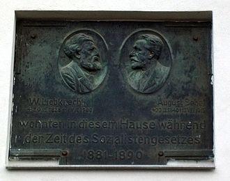 Borsdorf - Image: Bebel Liebknecht Gedenktafel Borsdorf