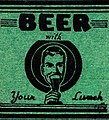 Beer in art (green), 1935 - Silver Key Restaurant Green Matchcover Allentown PA (cropped).jpg