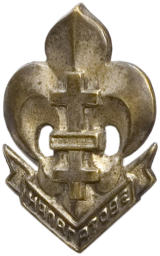 Scouting and Guiding in Belarus - Membership badge of the Belarusian Scout Association Abroad (BSAA), which existed from 1945 to 1951 in Germany. The emblem features the traditional motto Напагатове!.