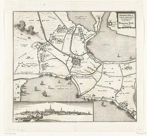 Beleg van Hulst, 1645 Obsidio Hulstenae Civitatis et Fortality MDCXLV Belägerung Hulst. Anno 1645 (titel op object), RP-P-1909-443
