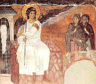 Myrrhbearers - Myrrhbearers on Christ's Grave, c. 1235 AD, Mileševa monastery in Serbia.