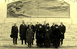 Mabel H. Grosvenor - Grosvenor, front row, left, at the unveiling of the Bell Telephone Memorial in 1917. To the right is her name source and grandmother, Mabel Hubbard (Mrs. Alexander Graham Bell), and then her mother Elsie May Grosvenor. Alexander Graham Bell, her grandfather, is rear row, centre. (Courtesy: Bell Homestead National Historic Site)