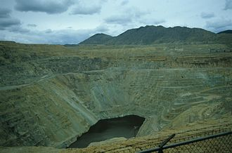 Copper mining in the United States - The Berkeley Pit, Butte, in May 1984.