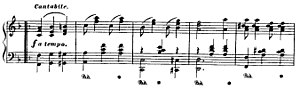 Bethena - The C strain in F major, bars 77-81, showing the Waltz structure and counterpoint in the opening phrase, with the bass in octaves contrasting with the melody line in the treble