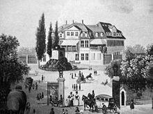 Bethmannsches Gartenhaus am Friedberger Tor, erbaut 1784, nach einem Stich von Johann Jakob Tanner von 1847 (Quelle: Wikimedia)