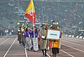 Bhutan players taking part in the ceremonial march pass, on the occasion of the 12th South Asian Games-2016, at Indira Gandhi Athletics Stadium, in Guwahati, Assam on February 05, 2016.jpg