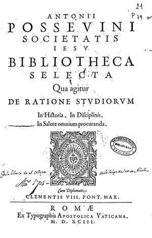 Antonio Possevino - Image: Bibliotheca selecta 1593