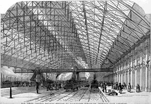 Birmingham New Street railway station - Birmingham New Street station as pictured in the Illustrated London News on 3 June 1854