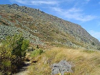 Bistrishko Branishte - A track in the foothills of Golyam Rezen Peak crossing the upper Bistrishko Branishte.