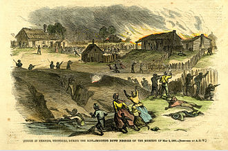 Memphis riots of 1866 - Illustration of an attack on black Memphians. Harper's Weekly, 26 May 1866