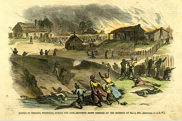 Blacks in Memphis under attack, Harper's Weekly, 26 May 1866 Black Americans attacked in Memphis Riot of 1866.jpg