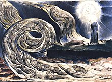 William Blake, Le Cercle de la Luxure, Paolo et Francesca, 1824 - 1827, 374 × 530 mm, City Museum and Art Gallery, Birmingham.