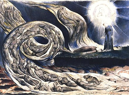 William Blake's The Lovers' Whirlwind illustrates Hell in Canto V of Dante's Inferno. Blake Dante Hell V.jpg