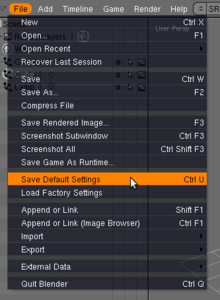 Save default settings dans le menu file