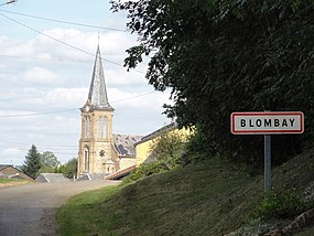 Blombay (Ardennes) city limit sign.JPG