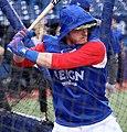 Blue Jays third baseman Josh Donaldson takes batting practice before the AL Wild Card Game. (30051725861).jpg