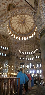 Central dome semi-dome with three exedrae; fine overview of the decorations in the mosque